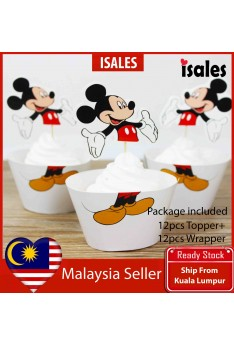 24pcs Mickey Cake Topper Wrappers Kid Birthday Party Decoration Baby Shower Supplies