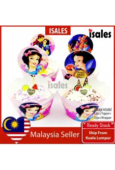 24pcs Snow White Cake Topper Wrappers Kid Birthday Party Decoration Baby Shower Supplies