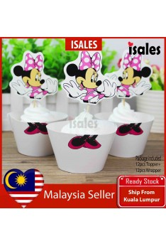 24pcs Minnie Cake Topper Wrappers Kid Birthday Party Decoration Baby Shower Supplies