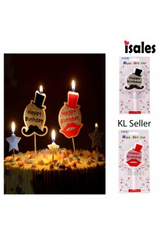 Ready Stock ISALES 1pcs Mustache Kiss Cake Topper Birthday Candle