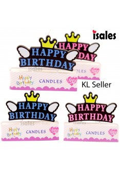 1pcs Happy birthday Wing Crown Cake Topper Birthday Candle