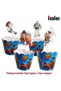 24pcs Toy Story Cupcake Cake Topper Wrappers Kid Birthday Cake