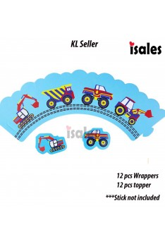 24pcs Truck Transportation Cupcake Cake Topper Wrapper Wrappers Kid Birthday Cake