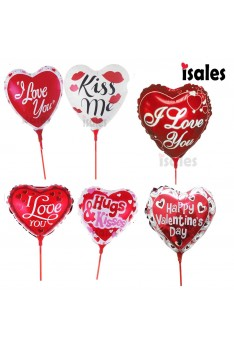 ISALES 1 pcs 10 inch I Love you Kiss Me Hug anniversary valentine balloon with stick