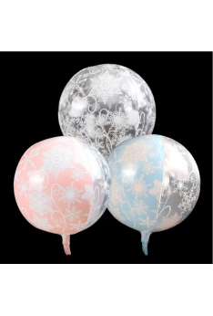 ISALES 22 Inch Frozen Snowflake Printing 4D Transparent Balloon Aluminum Foil Birthday Party Decoration