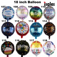 Malaysia ISALES Party Deco 1 pcs 18 inch Happy birthday Gel well soon Foil Balloon 117-118