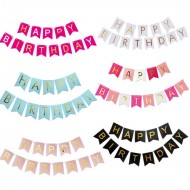 Ready Stock ISALES Happy Birthday Party Flags Birthday Banner big and small Flag Fish Tails Banner Riboon