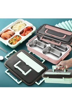 Ready stock ISALES Lunch box 304 stainless steel square lunch box