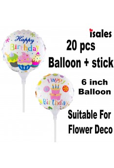 ISALES 20 pcs 6 inch Cake Happy birthday balloon with stick Cake flower decoration