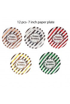 12 pcs 7 inch Plate Shinning Happy birthday Disposable Paper Plate Tableware Party