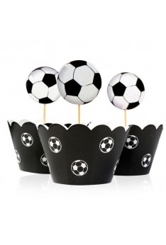 Cake Decoration (L6 ) Cake Decoration  24 pcs Football Cake Topper Wrappers Kid Birthday