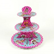 ISALES doll Theme 3-Tier Cupcake Stand Birthday Party Events Decoration