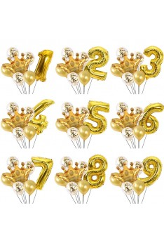 Ready Stock ISALES  7pcs Helium Quality Crown 40 inch number Crown Gold Set Balloon